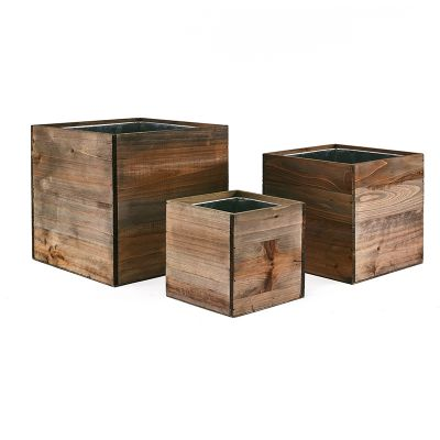 """Wood Planter Cube Boxes with Zinc Liner Set of 3. H-10"""", 8"""", 6"""""""