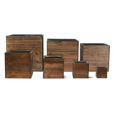 Wood Planter Rustic Cube Box with Zinc Metal Liner, Multiple Sizes