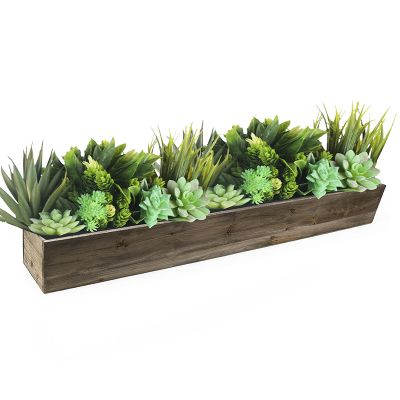 "Natural Brown Wood Rectangle Planter Box With Metal Zinc Liner (H:4"" Open:34""x4"")"