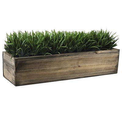 "6"" Natural Garden Wood Rectangle Box Planter with Zinc Metal Liner Vase"