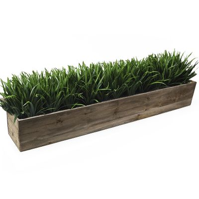 "Natural Brown Wood Rectangle Planter Box With Metal Zinc Liner (H:6"" Open:36""x6"")"