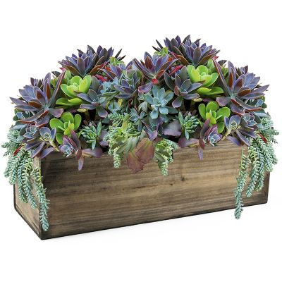 "Natural Brown Wood Rectangle Planter Box With Metal Zinc Liner (H:8"" Open:16""x8"")"