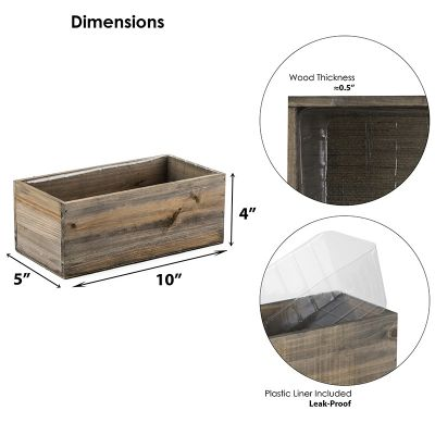 """4"""" x 10"""" x 5"""" Rectangle Planter Wood Box with Plastic Liner"""