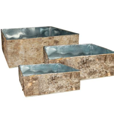 Set of 3 Natural Birch Wood Wrapped Zinc Square Vases