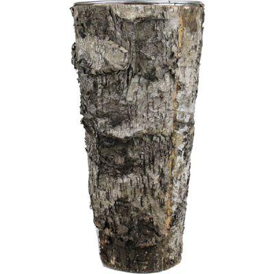 """12"""" Round Planter Birch Wood Wrap Zinc Metal Vase"""