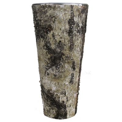 "14""  Taper Down Planter Birch Wood Wrap Zinc Metal Vase"