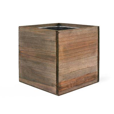 "4"" Garden Wood Cube Box Planter with Zinc Metal Liner Vase"