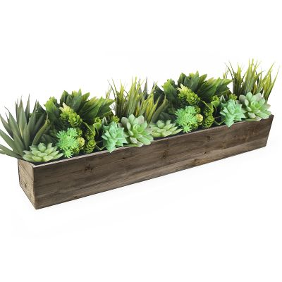 "6"" Natural Garden Wood Rectangle Box Planter with Zinc Metal Liner Vase"