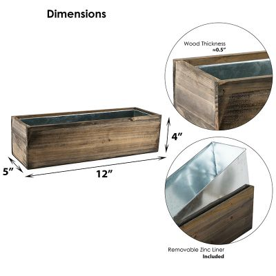 """12""""x5"""" Rectangle Window Planter Natural Wood Box with Zinc Liner"""