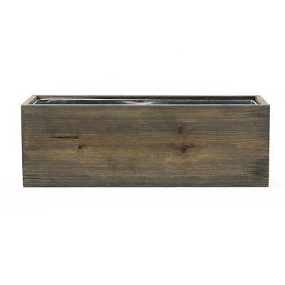 "5"" Decorative Garden Wood Rectangle Box Planter with Zinc Metal Liner Vase"