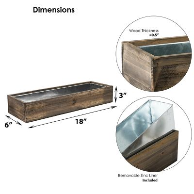 """Natural Brown Wood Rectangle Planter Box With Metal Zinc Liner (H:3"""" Open:18""""x6"""")"""