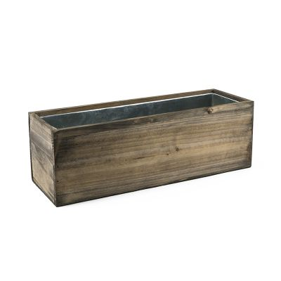 "Wood Rectangle H-6"" Planter Boxes with Zinc Liner, Multiple Sizes (Free Shipping)"