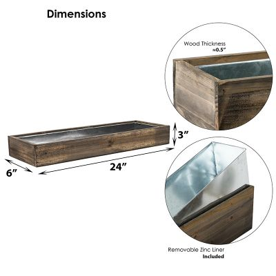 """Natural Brown Wood Rectangle Planter Box With Metal Zinc Liner (H:3"""" Open:24""""x6"""")"""