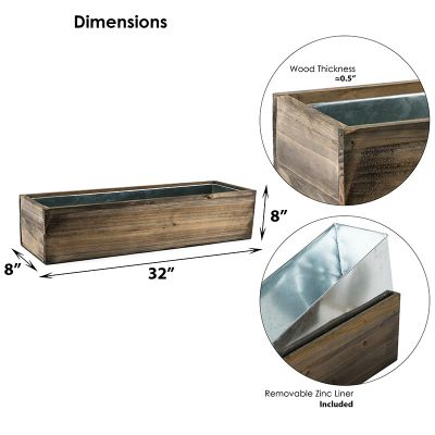 "Natural Brown Wood Rectangle Planter Box With Metal Zinc Liner (H:8"" Open:32""x8"")"