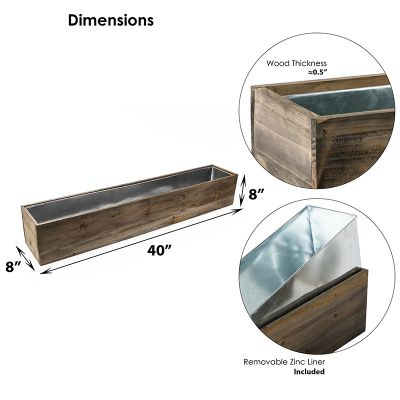 "Natural Brown Wood Rectangle Planter Box With Metal Zinc Liner (H:8"" Open:40""x8"")"