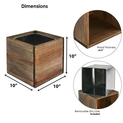 "8"" Garden Wood Cube Box Planter with Zinc Metal Liner Vase"