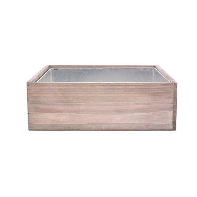 "4"" Decorative Garden Wood Square Box Planter with Zinc Metal Liner Vase"