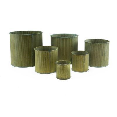 """Zinc Metal Cylinder Planter Vase   Set of 6 Sizes H-3"""" - 8"""""""