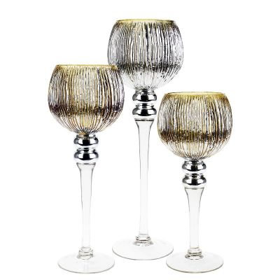 Set Of 3 Metallic Etched Gold Mercury Glass Candle Holders Glass