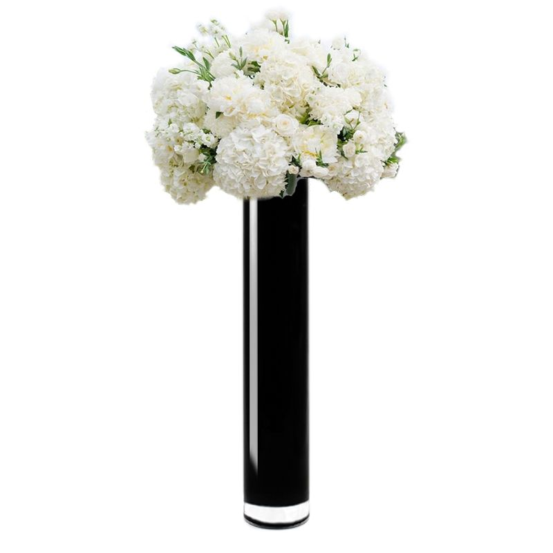24 X 4 Inch Black Glass Cylinder Vase For Home Decor Weddings