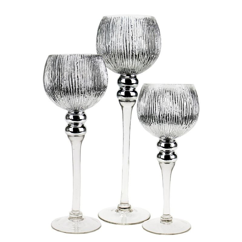 Set Of 3 Metallic Etched Silver Mercury Gl Candle Holders Vases Depot