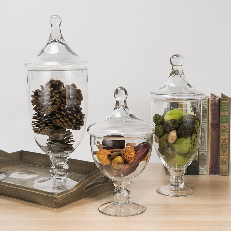 Surprising 3 Pcs Set Clear Glass Apothecary Jar Candy Containers Interior Design Ideas Grebswwsoteloinfo
