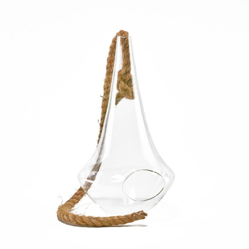 11 Hanging Glass Teardrop Terrarium With Rope Glass Vases Depot
