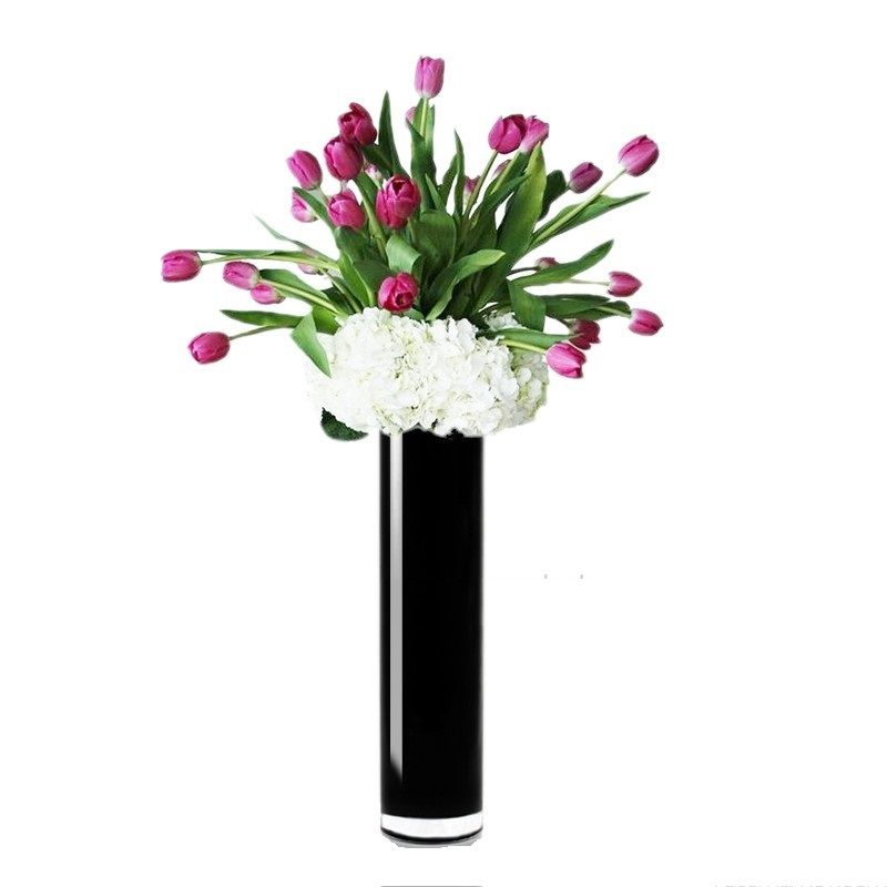 16 X 4 Inch Black Glass Cylinder Vase For Home Decor Weddings