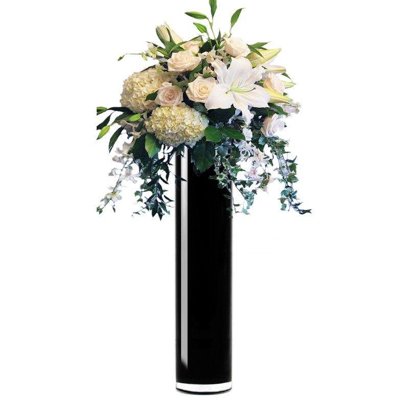 20 X 4 Inch Black Glass Cylinder Vase For Home Decor Weddings
