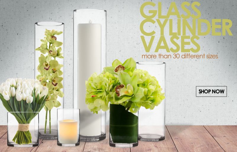 6 Width Decorative Glass Cylinder Vase 9 Sizes Available Glass