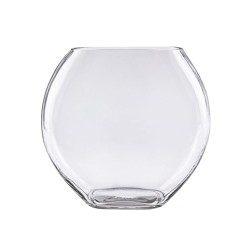 11 Inch Decorative Glass Moon Shaped Flat Oval Vase Glass Vases Depot