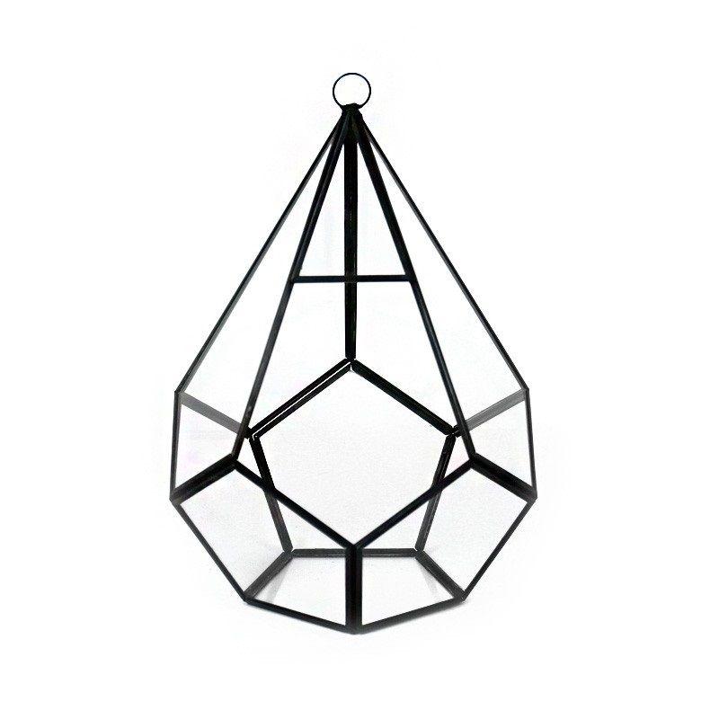 10 Hanging Hydroponic Glass Geometric Teardrop Terrarium Candle