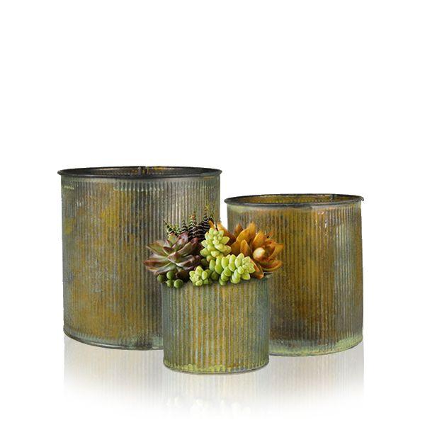 Zinc Metal Planter Pot Antique Finish Set Glass Vases Depot