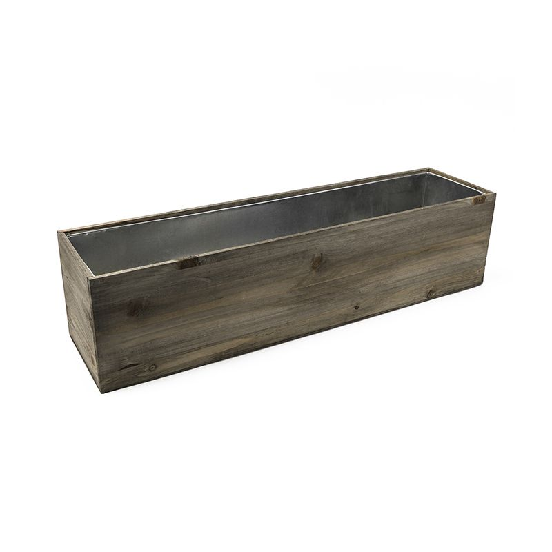 8 X 32 X 8 Inch Natural Wood Rectangle Planter Box W Zinc Metal