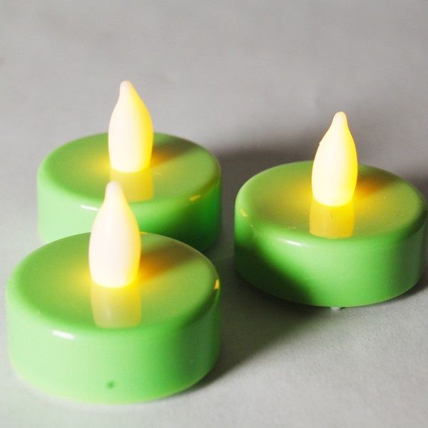 1 5 Inch Flameless Green Led Tealight Candles 24 Piece Set