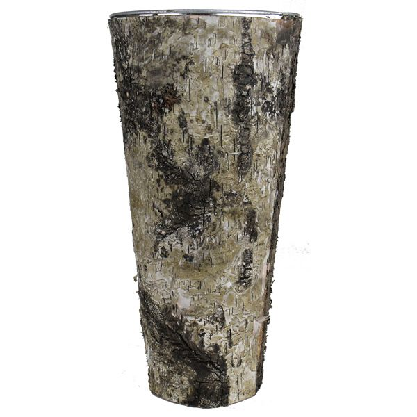 14 Taper Down Planter Birch Wood Wrap Zinc Metal Vase Glass Vases