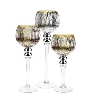 3-Piece Set, Gold Wavy Etched Mercury Glass Candle Holders