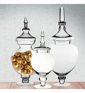 3-Piece Set, Clear Glass Apothecary Jar Candy Buffet Containers