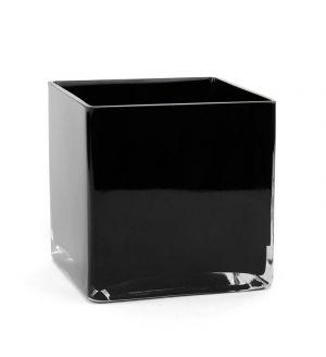 "6"" Black Color Cube Glass Vase"