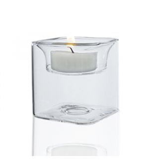 """2.5"""" Tealight Square Glass Reversible Candle Holder"""
