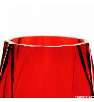 """12"""" Geometric Red Glass Vases Candle Holder"""