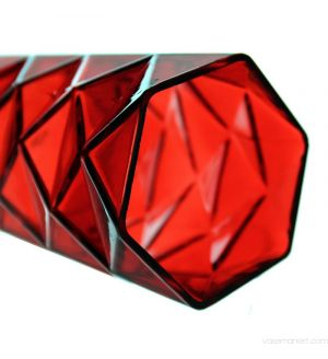 """7.5"""" Geometric Red Glass Vases Candle Holder"""