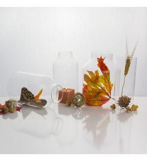 "8"" Hurricane Glass Milk Bottle Globe Shape Open-Ended Candle Holder Flame Protectors - Set of 4"