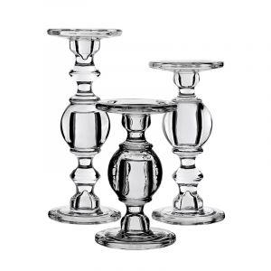 3-Piece Set, Baluster Stem Glass Taper & Pillar Candlesticks
