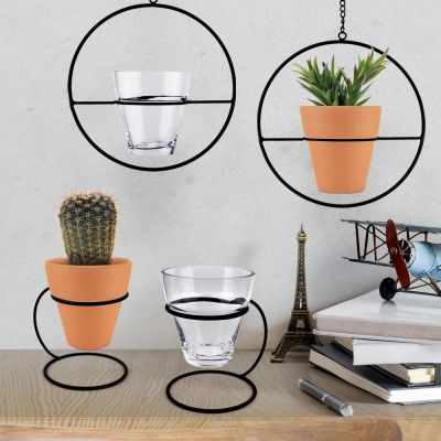 "H-18"" Hanging Ring Terrarium Planter with Metal Ring."