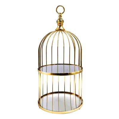"Antique Gold 2 Tier Birdcage Stand, H: 22"" D: 10"""