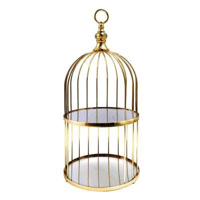 "Antique Gold 2 Tier Birdcage Stand, H: 22"" D: 10"""