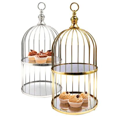 "Antique Silver 2 Tier Birdcage Stand, H: 22"" D: 10"""