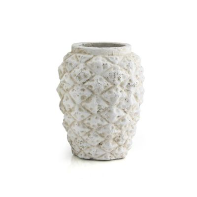 "White Pineapple Vase. H-9"", D-7"" (Free Shipping)"