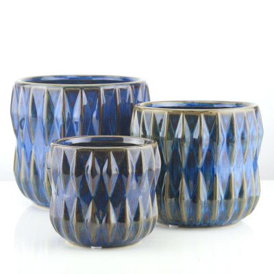 Geometric Ribbed Royal Blue Pot Planter, Available in 3 Sizes